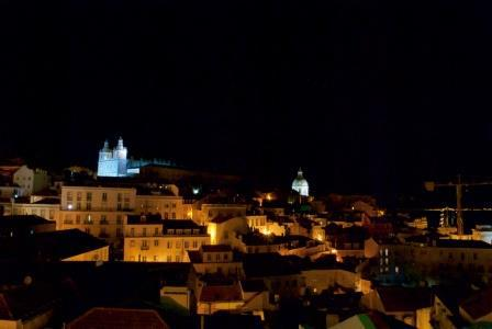 The neighbourhood of Alfama at night, with the Monastery of São Vicente de Fora at the top