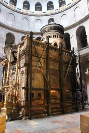 The site believed to contain the empty tomb, under the jurisdiction of the Greek Orthodox Church